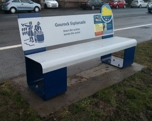 Steel bench with interpretation panels