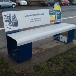 SSteel bench, with laser cut graphics, and Multiguard® interpretive panels - Inverclyde Coastal Trail