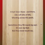 Oak door with engraved poem