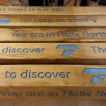 Helix Park - Falkirk (Kelpies) - Fingerposts with routed text still at our workshop in Dumfries