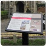 Multiguard® interpretive panel in powder coated steel frame - Colchester & Ipswich Museum