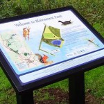 Multiguard® interpretive panel in powder coated steel frame