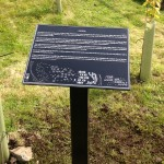 Wanlockhead-Scotland. lectern with zinc-etched panel
