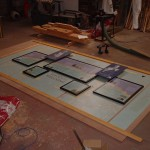 Notice board with different size panels for Lews Castle - In production at our workshop