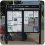 Steel upright with double glazed case and headerboard - Milngavie Community Council