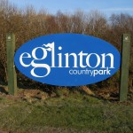 Large welcome sign - Eglinton Country Park