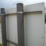 Fixings panels to steel posts with runners and clips