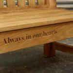Engraving in oak memorial bench