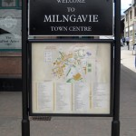 Steel welcome sign with map - Milngavie Town Centre