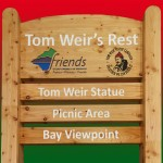 "Large Timber upright structure with routed text and graphics for ""Tom Weir's Rest"" - Balmaha, Loch Lomond"