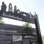 Steel upright structure with zinc etched panel and laser cut header board - Ecclefechan