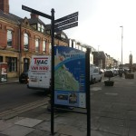 Whitley Bay - Steel upright structure with Multiguard® panel, combined with fingerpost