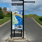 Steel upright structure with Multiguard® panel, in combination with steel fingerpost with multiple directional fingers - Tynemouth