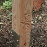 Routed graphics in timber lectern leg