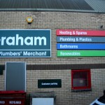 All the signage at 15 branches in Scotland of Graham the Plumbers merchant was refiited by Border Signs & Graphics