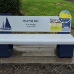 Steel bench Inverclyde Coastal Trail, with laser cut graphics, and Multiguard® interpretive panels