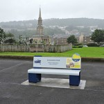 Steel bench, with laser cut graphics, and Multiguard® interpretive panels - Inverclyde Coastal Trail