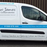 Car Graphics - A Commercial vehicle transformed from a plain plain van into a business card on wheels