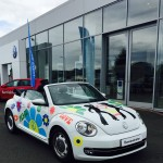 To mark the anniversary of Volkswagen a special 70's theme for some of the cars on the forecourt at Benfield Volkswagen, Dumfries