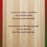 Oak door with engraved poem