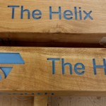 Fingerpost for Helix Park - Falkirk (Kelpies) with routed text