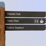 Fingerpost for Helix Park - Falkirk (Kelpies) a combination of timber posts and metal directional arrows