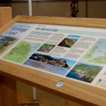 Timber lectern with Multiguard® panel - Tail of a Trail Heritage