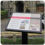 Multiguard® interpretive panel in powder coated steel frame - Colchester & Ipswich Museum
