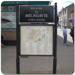 Steel upright with glazed case and headerboard - Milngavie Town Centre