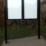 Steel upright with double glazed case and headerboard