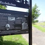 Steel upright structure with zinc etched panel, and laser cut header board - Ecclefechan